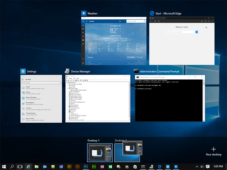 multiple windows 10 virtual desktops
