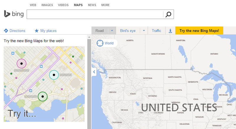 try the new bing maps 2015