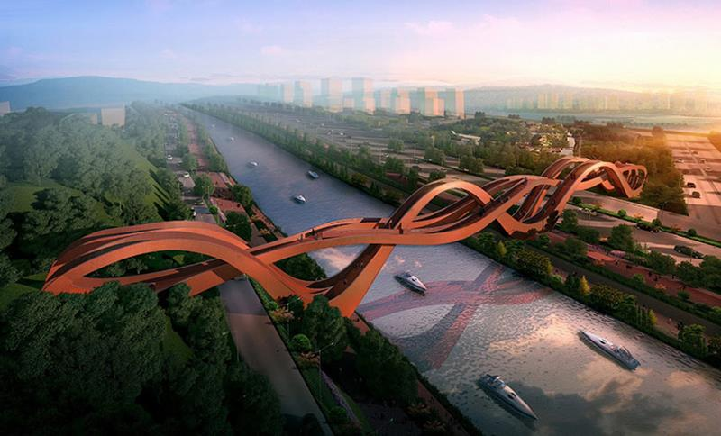 Lucky Knot Bridge / Dragon King Kong Bridge / Meixi Lake Bridge, Changsha, China
