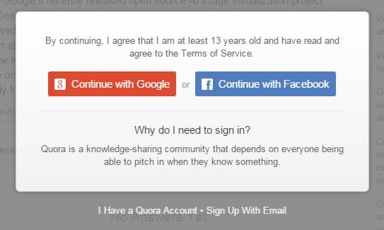 You have to have an account to even read the results on Quora