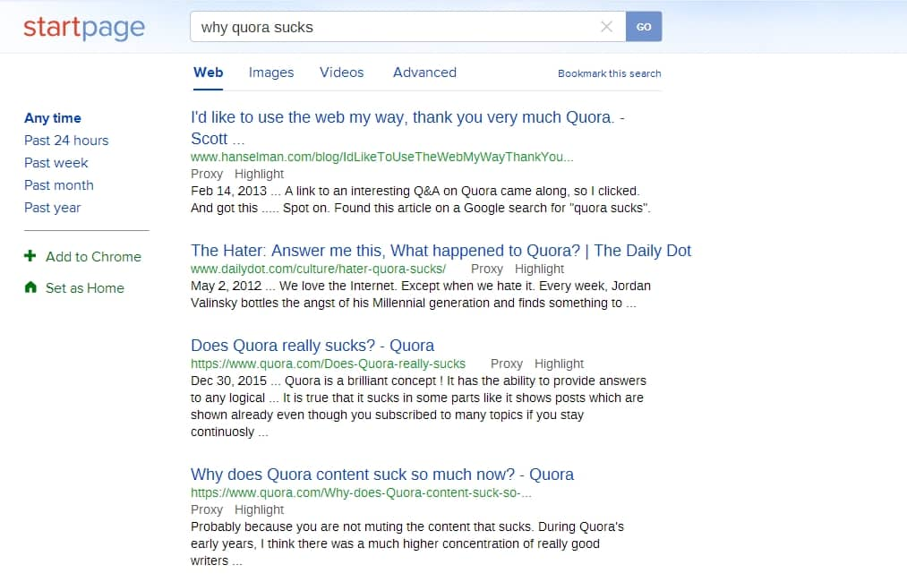 Quora pollutes internet searches on mobile devices