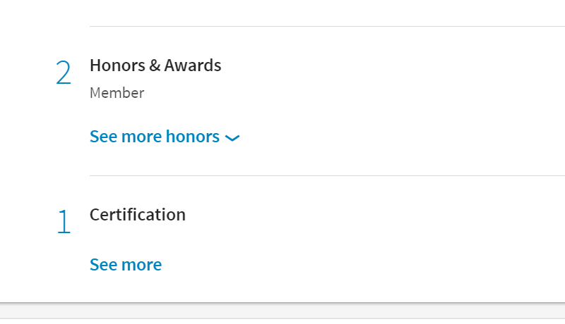 Honors and awards are hidden, certifications are hidden