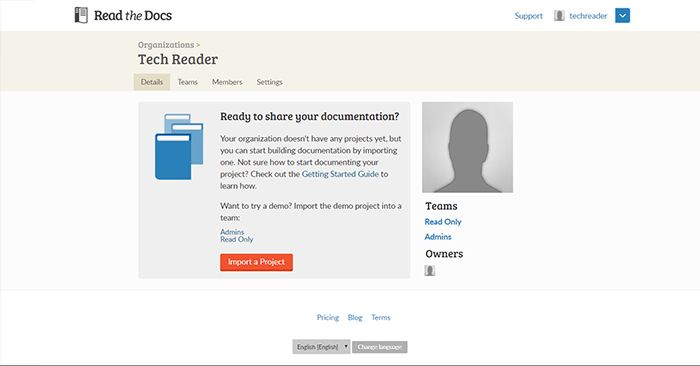 Read the Docs Admin Page