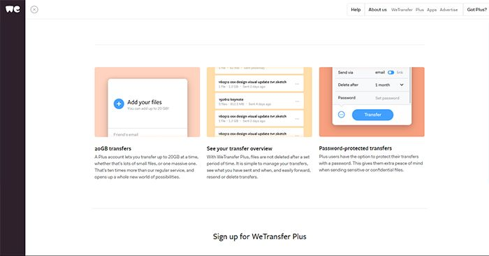 Wetransfer Admin Page