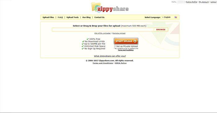 Zippyshare Admin Page