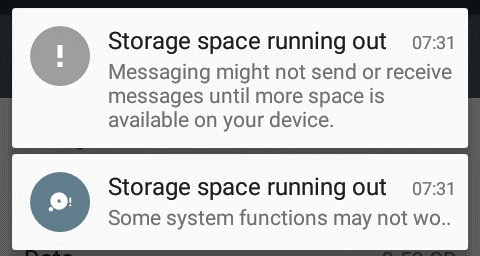 Running out of space and data